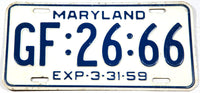 1959 Maryland Passenger Car License Plate in very good plus condition