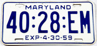 1959 Maryland Truck License Plates in very good plus condition