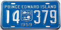 A classic 1959 passenger car license plate from the Canadian province of Prince Edward Island in very good plus condition