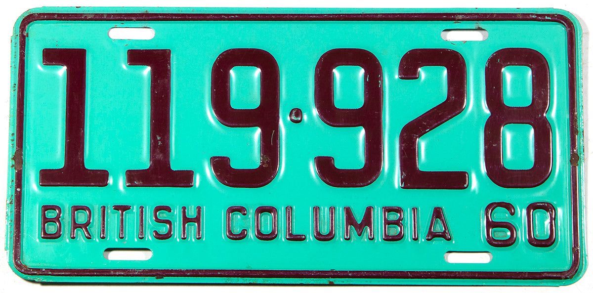 A classic 1960 British Columbia passenger car license plate grading excellent minus