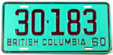 A classic 1960 British Columbia passenger car license plate in excellent minus condition