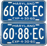 1960 Maryland Truck License Plates in very good plus condition