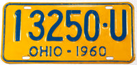 A classic 1960 Ohio passenger car license plate in very good plus condition