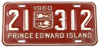 A classic 1960 passenger car license plate from the Canadian province of Prince Edward Island in very good condition