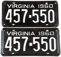 1960 Virginia car license plates in very good plus condition