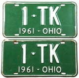 1961 Ohio License Plates with DMV #1-TK Very Good