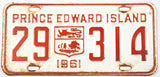 A classic 1961 passenger car license plate from the Canadian province of Prince Edward Island in very good minus condition