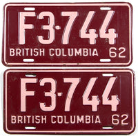 A classic pair of 1962 British Columbia farm tractor license plates in very good condition