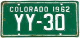 A 1962 Colorado motorcycle license plate in very good condition
