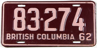 A classic 1962 British Columbia passenger car license plate in excellent minus condition
