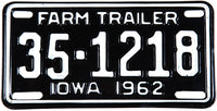 1962 Iowa Farm Trailer License Plate grading NOS Excellent Plus
