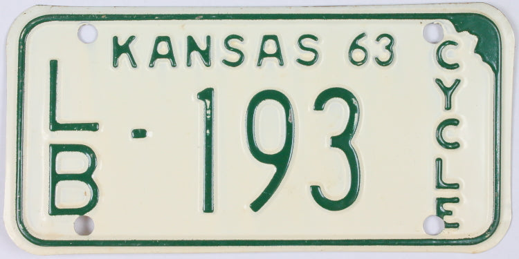 A Classic New Old Stock 1963 Kansas Motorcycle License Plate that has never been used and will grade excellent minus.