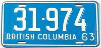 A classic 1963 British Columbia passenger car license plate in excellent minus condition