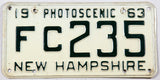 1963 New Hampshire single car license plate in very good plus condition