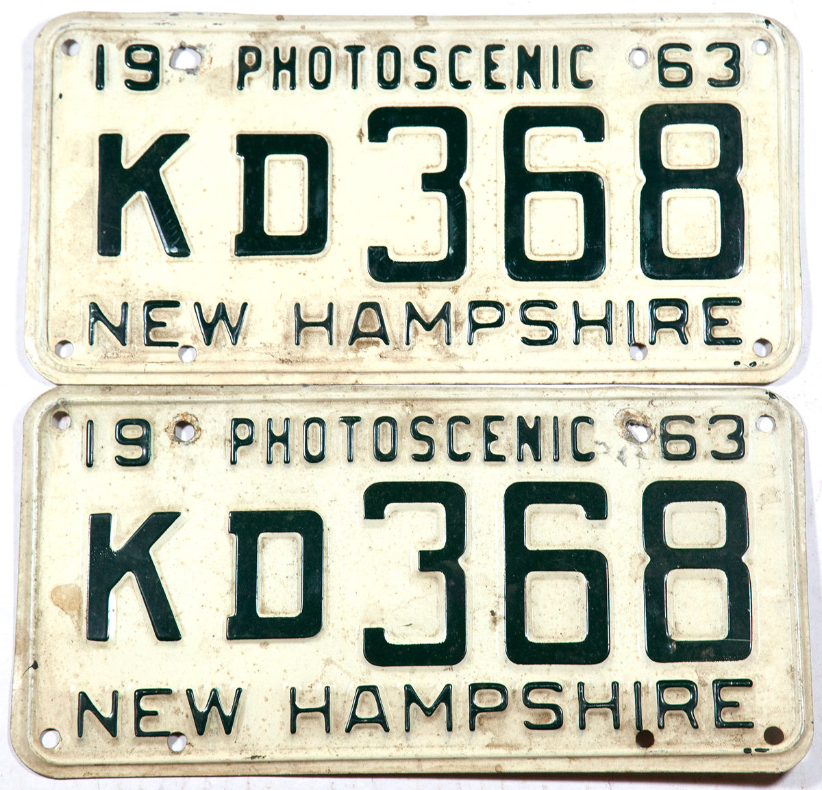 1963 New Hampshire car license plates in very good minus condition