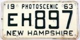 1963 New Hampshire single car license plate in very good condition