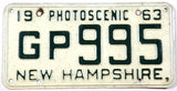 1963 New Hampshire single car license plate in very good minus condition