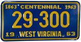 1963 WEst Virginia License Plate in Excellent Minus condition