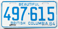A classic 1964 British Columbia passenger car license plate in excellent minus condition