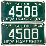 1964 New Hampshire car license plates in very good minus condition