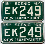 1964 New Hampshire car license plates in very good plus condition