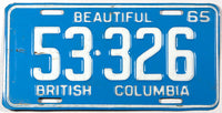 A classic 1965 British Columbia passenger car license plate in very good plus condition