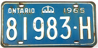 A 1965 Ontario Canada passenger car license plate in very good minus condition