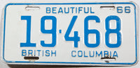 A classic 1966 British Columbia car license plate in very good plus condition