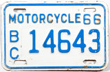 A classic 1966 British Columbia motorcycle license plate in very good condition