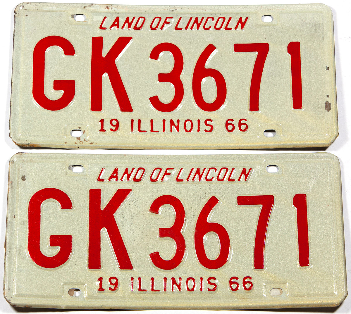 A classic pair of 1966 Illinois car license plates in NOS very good plus condition