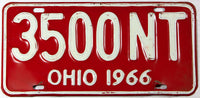 A classic 1966 Ohio passenger car license plate in very good plus condition