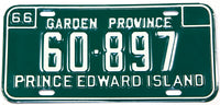A classic 1966 passenger car license plate from the Canadian province of Prince Edward Island in new old stock excellent plus condition