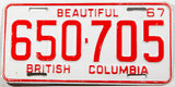 A classic 1967 British Columbia car license plate in excellent minus condition