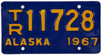 1967 Alaska Trailer License Plate in excellent minus condition