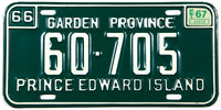 A classic 1967 passenger car license plate from the Canadian province of Prince Edward Island in NOS excellent plus condition