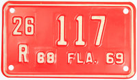 An unused new old stock 1968 - 69 Florida Motorcycle License Plate which is in excellent minus condition