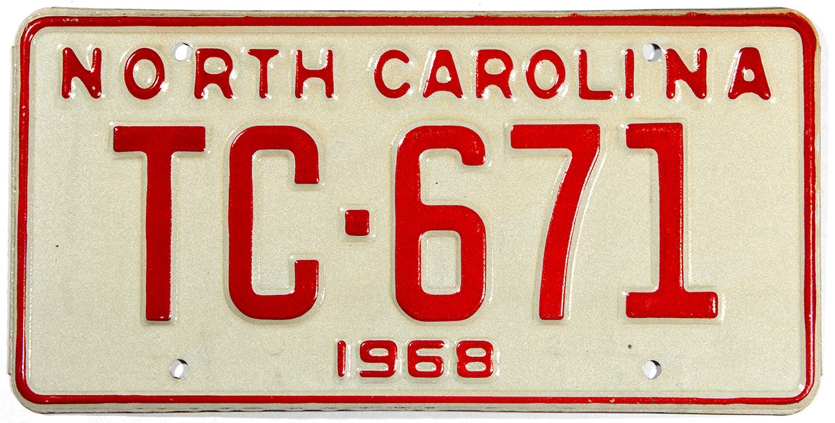 A classic NOS 1968 North Carolina passenger automobile license plate in excellent condition