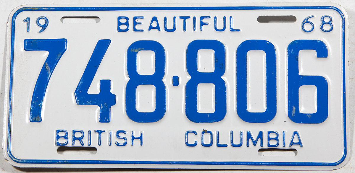 A 1968 British Columbia car license plate in very good plus condition