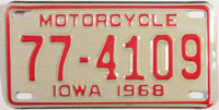 A NOS 1968 Iowa Motorcycle License Plate that is in Excellent Plus condition