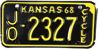 1968 Kansas Motorcycle License Plate