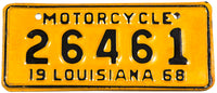 A classic NOS 1968 Louisiana motorcycle license plate in New Old Stock Excellent Plus condition