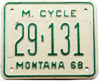 A classic 1968 Montana motorcycle license plate in very good plus condition