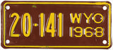 1968 Wyoming Motorcycle License Plate Excellent Minus condition