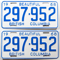A beautiful pair of New Old Stock 1968 British Columbia car license plates in Excellent plus condition