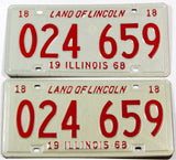 1968 NOS Illinois car license plates in excellent plus condition