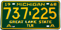 A 1968 Michigan Class A Trailer License Plate which is unused