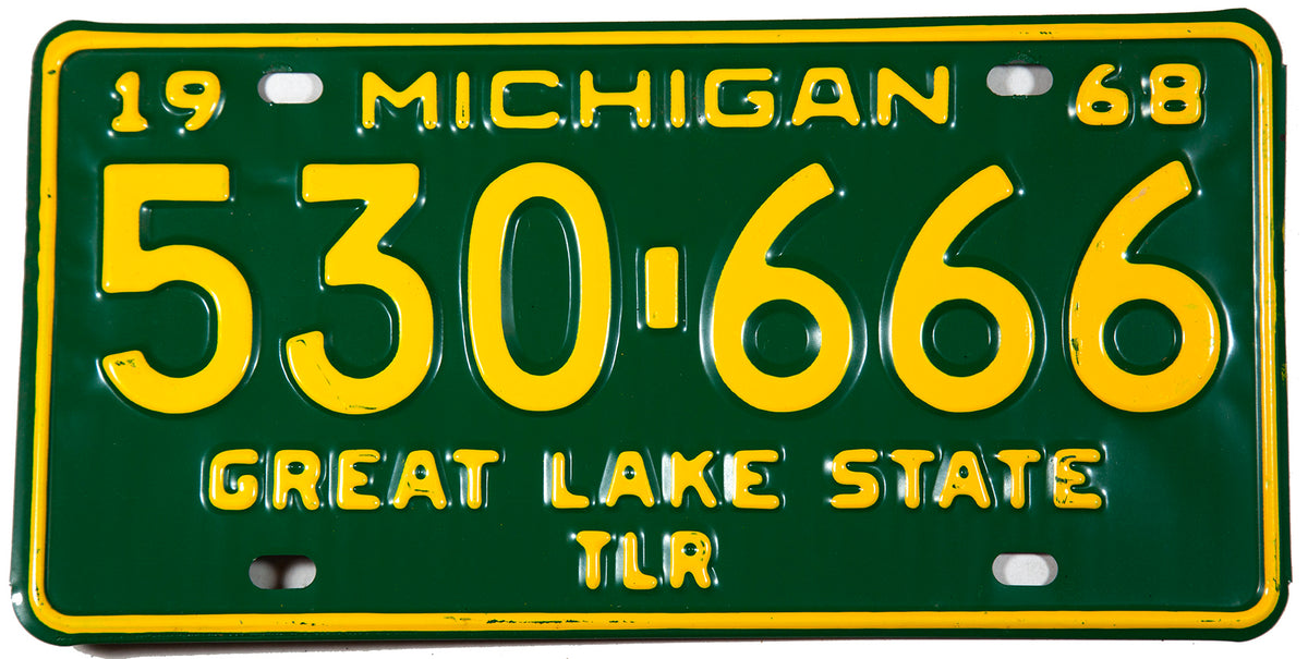 A 1968 Michigan Trailer License Plate in NOS Excellent or better condition
