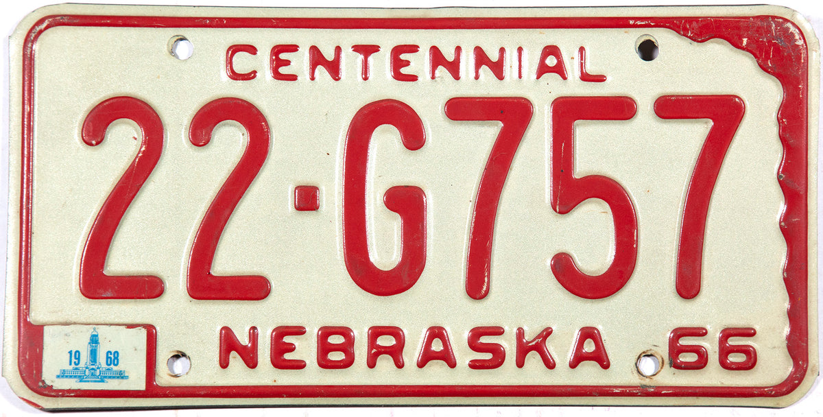 1968 Nebraska car license plate in very good plus condition