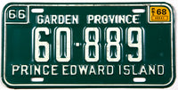 A classic 1968 passenger car license plate from the Canadian province of Prince Edward Island in NOS excellent condition