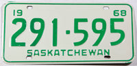 A classic 1968 NOS Saskatchewan passenger car license plate in New Old Stock excellent condition